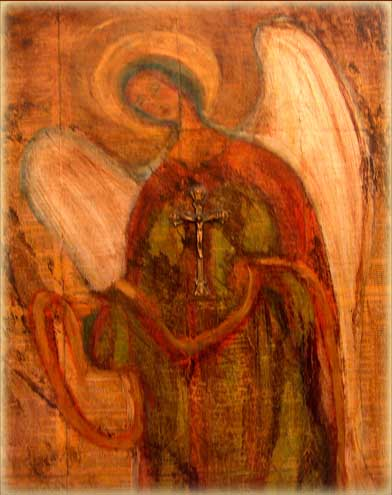 Patron Saint Art - Angel on Wood